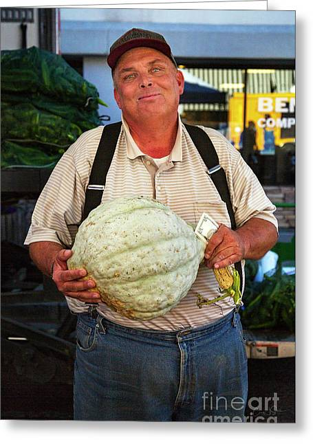 Greeting Card featuring the photograph The Gourd Man by Craig J Satterlee