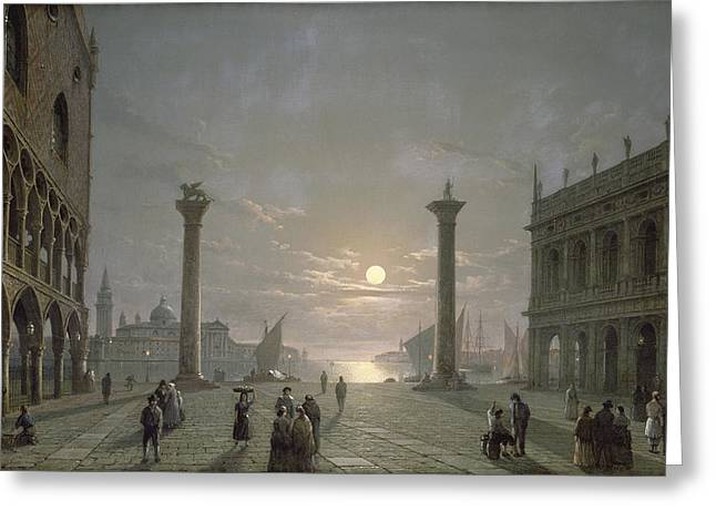 The Grand Canal From Piazza San Marco Greeting Card by Henry Pether