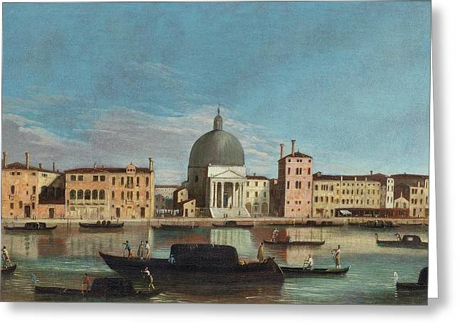 The Grand Canal With The Church Of San Simeone Piccolo Greeting Card by Celestial Images