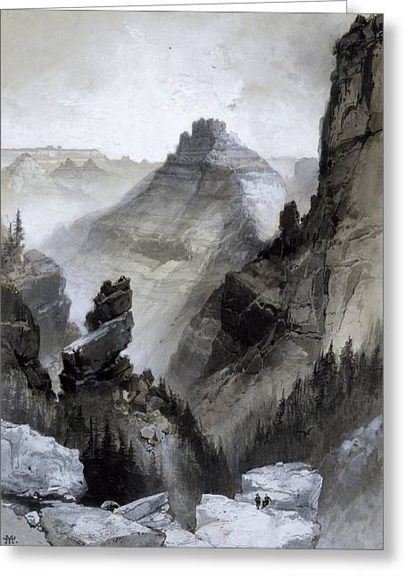 The Grand Canyon - Head Of The Old Hance Trail Greeting Card by Thomas Moran