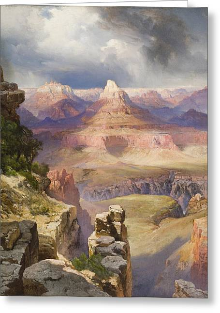 Picturesque Paintings Greeting Cards - The Grand Canyon Greeting Card by Thomas Moran