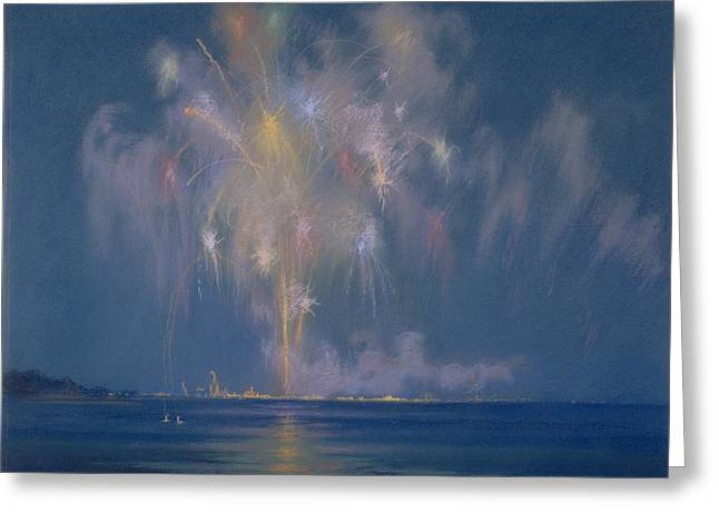 July 4th Paintings Greeting Cards - The Grand Finale Greeting Card by Lendall Pitts