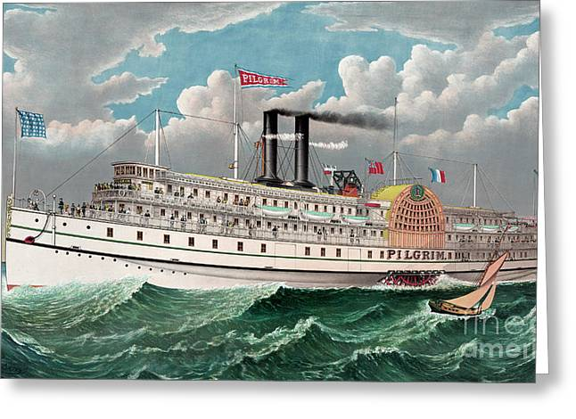 The Grand New Steamboat Pilgrim Greeting Card by Currier and Ives