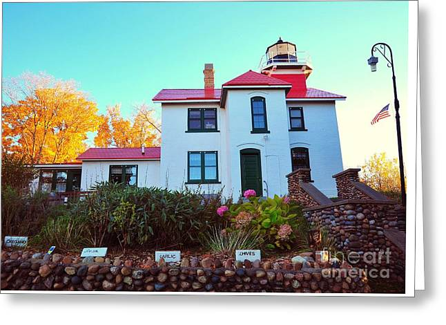 The Grand Traverse Lighthouse Greeting Card by Terri Gostola