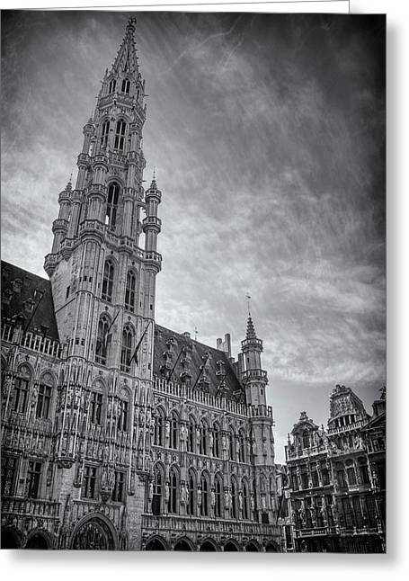 The Grandeur Of The Grand Place Brussels In Black And White  Greeting Card