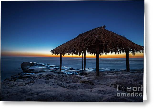 The Grass Shack At Windansea At Sunset Greeting Card