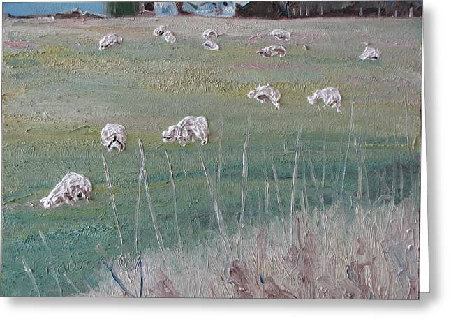 The Grazing Sheep Greeting Card by Francois Fournier