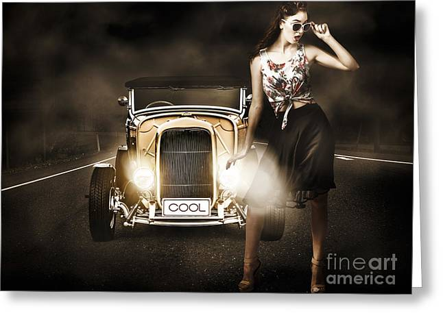 The Greaser Rockabilly Pinup Greeting Card by Jorgo Photography - Wall Art Gallery