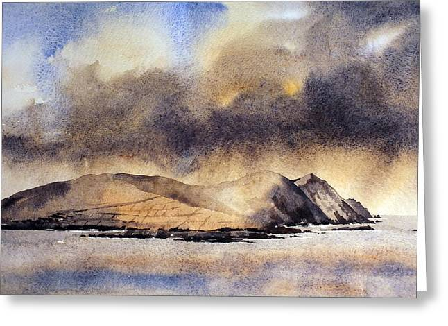 The Great Blasket Island Greeting Card by Val Byrne