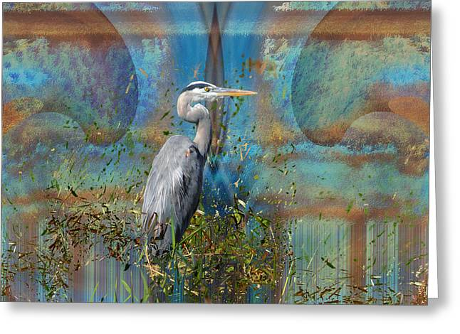 The Great Blue Heron In Abstract Greeting Card