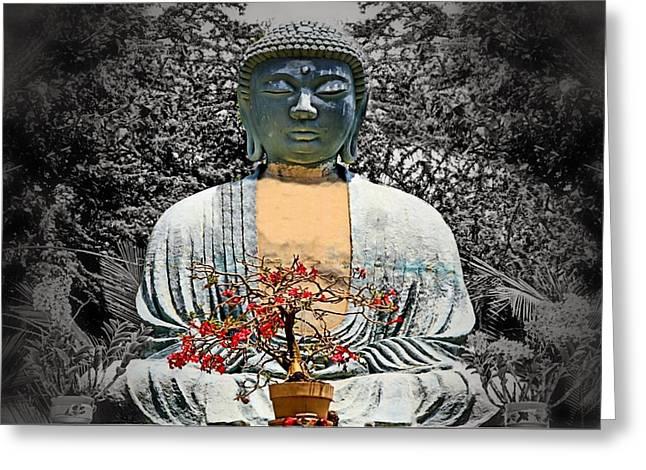 The Great Buddha Greeting Card by DJ Florek
