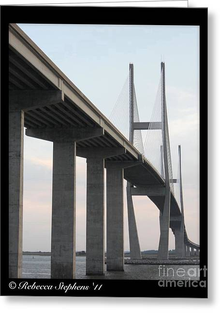The Great Connection Sidney Lanier Bridge Greeting Card by Rebecca Stephens