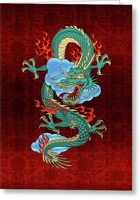 The Great Dragon Spirits - Turquoise Dragon On Red Silk Greeting Card by Serge Averbukh