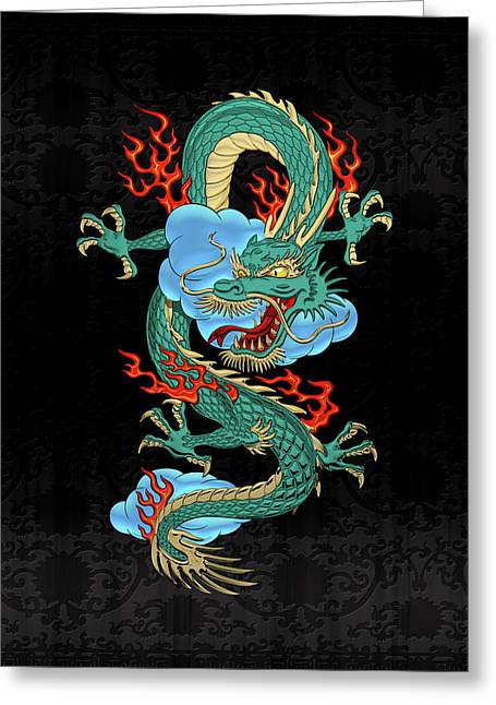 The Great Dragon Spirits - Turquoise Dragon On Black Silk Greeting Card by Serge Averbukh