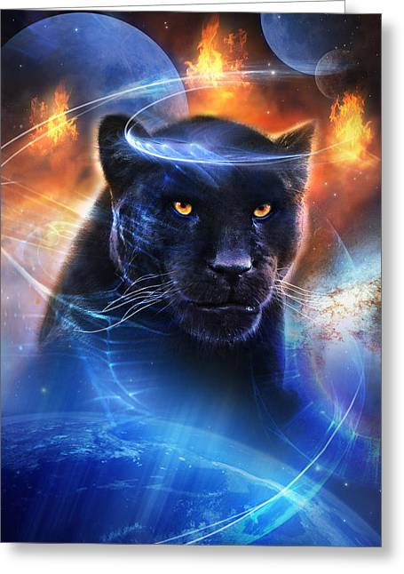 Metaphysical Mixed Media Greeting Cards - The Great Feline Greeting Card by Philip Straub