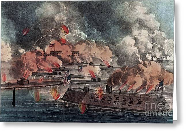 The Great Fight At Charleston  South Carolina Greeting Card by American School