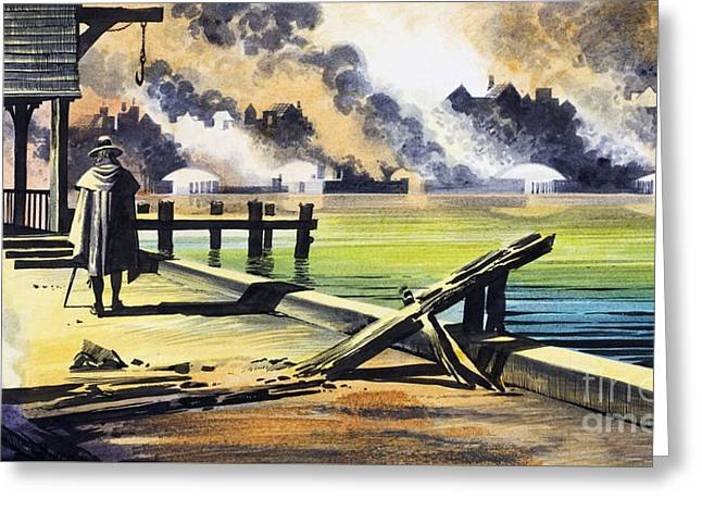The Great Fire Of London Greeting Card by Ron Embleton