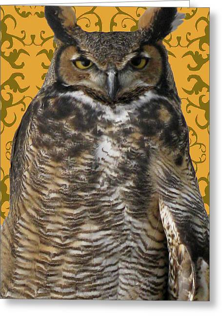 The Great Hored Owl Greeting Card by Debra     Vatalaro