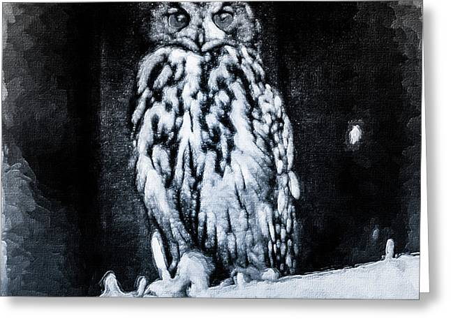 The Great Horned Owl Black Greeting Card