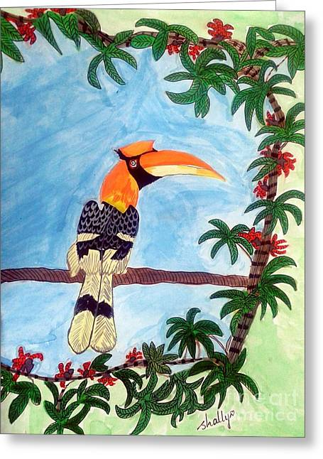 The Great Indian Hornbill- Gond Style Painting Greeting Card by Diana Shalini
