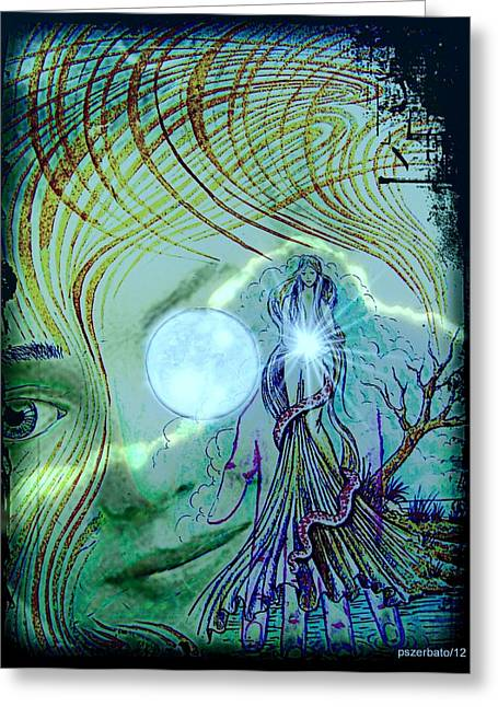 The Great Mother Lunar Greeting Card by Paulo Zerbato