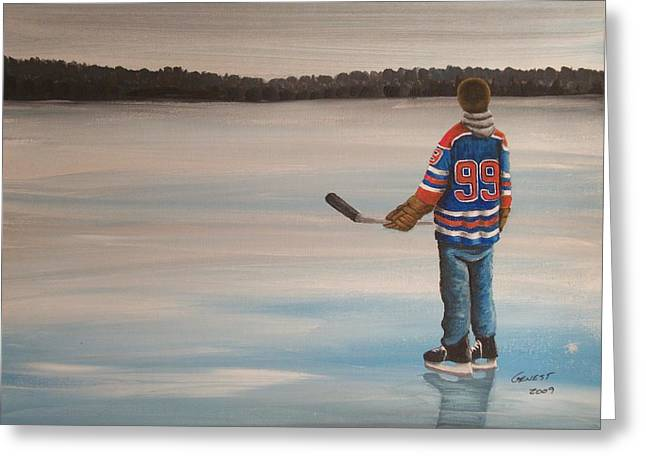 Youth Hockey Paintings Greeting Cards - The Great One Greeting Card by Ron  Genest