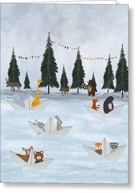 The Great Paper Boat Race Greeting Card