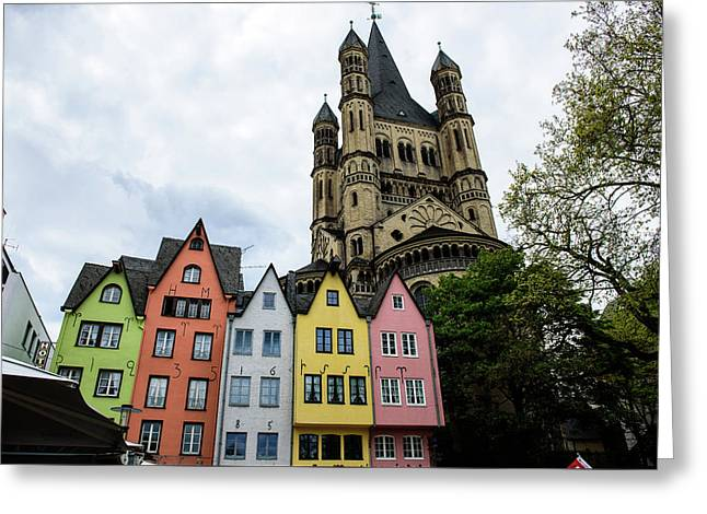 The Great Saint Martin Church  - Cologne - Germany Greeting Card by Jon Berghoff