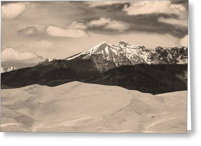 The Great Sand Dunes And Sangre De Cristo Mountains - Sepia Greeting Card by James BO  Insogna