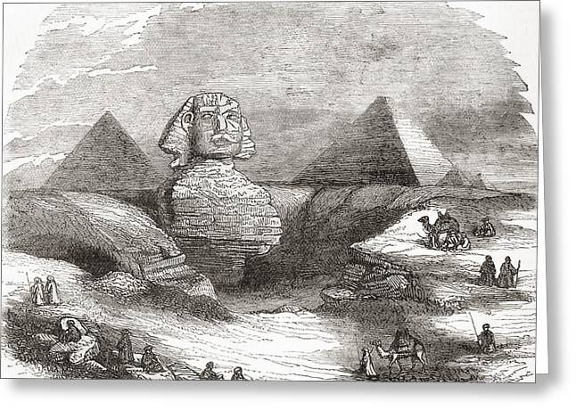 The Great Sphinx Of Giza, Egypt Greeting Card by Vintage Design Pics