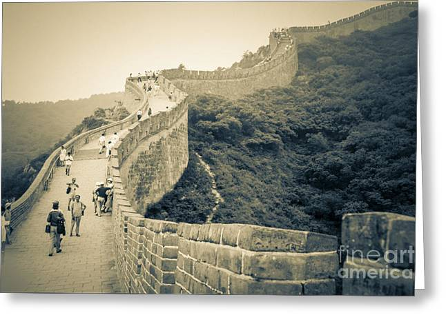 Greeting Card featuring the photograph The Great Wall Of China by Heiko Koehrer-Wagner
