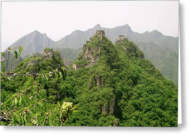 The Great Wall Of China Winding Over Mountains Greeting Card