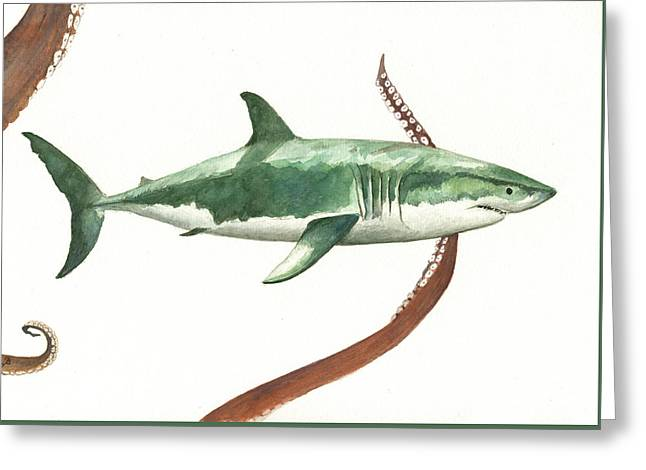The Great White Shark And The Octopus Greeting Card by Juan Bosco