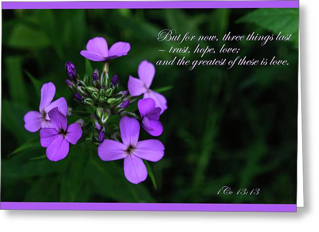 Greeting Card featuring the photograph The Greatest Is Love by Tikvah's Hope