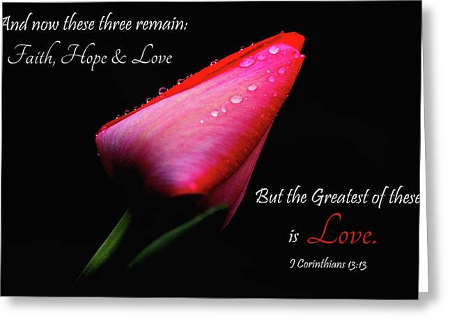 The Greatest Of These Is Love Greeting Card by Trina Ansel