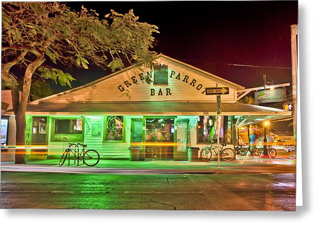 Key West Greeting Cards - The Greeen Parrot Greeting Card by Scott Meyer