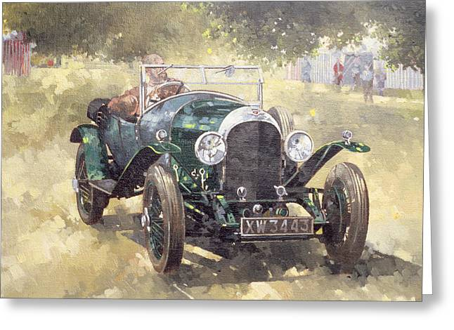 The Green Bentley At Althorp Greeting Card by Peter Miller