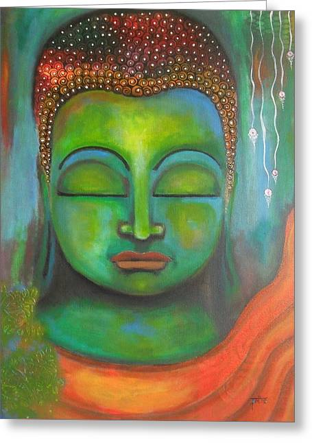 The Green Buddha Greeting Card by Prerna Poojara