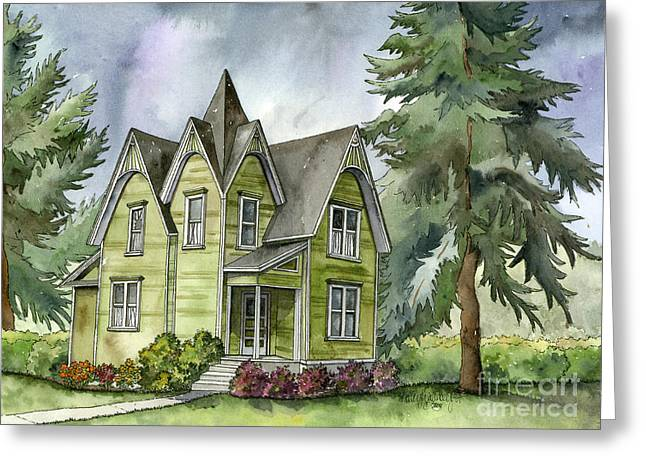 The Green Clapboard House Greeting Card by Shelley Wallace Ylst
