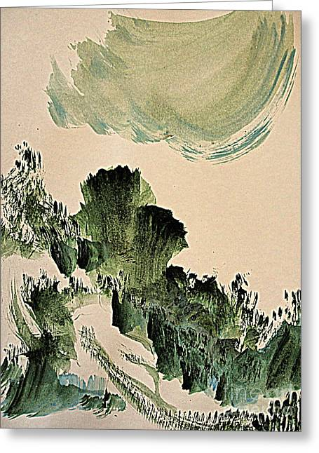 The Green Cliffs With A Cloud Greeting Card
