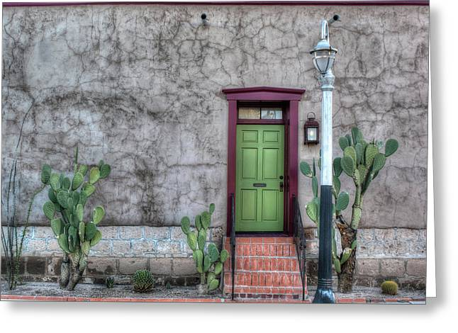 Greeting Card featuring the photograph The Green Door by Lynn Geoffroy