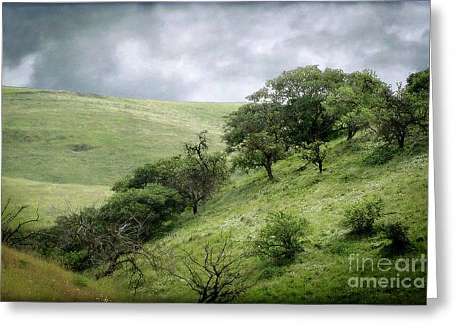 The Green Hills Of Home Greeting Card by Ellen Cotton
