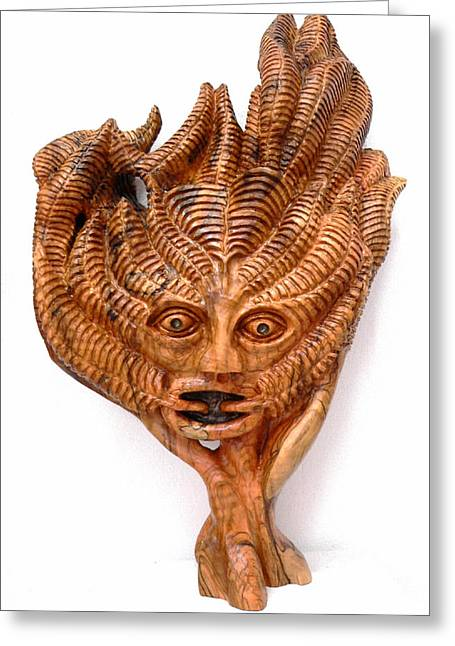Olive Sculptures Greeting Cards - The Green Man Greeting Card by Eric Kempson