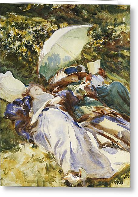 The Green Parasol Greeting Card by John Singer Sargent