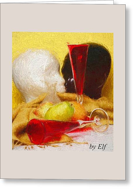 Greeting Card featuring the digital art The Green Pear by Elf Evans