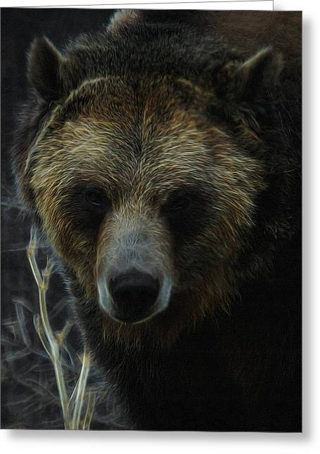The Grizzly Digital Art Greeting Card by Ernie Echols