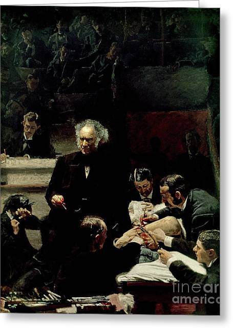 Lessons Paintings Greeting Cards - The Gross Clinic Greeting Card by Thomas Cowperthwait Eakins