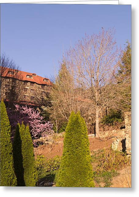The Grove Park Inn On A Spring Evening Greeting Card by MM Anderson
