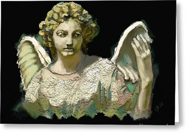 The Guardian Angel Greeting Card by Carrie Joy Byrnes
