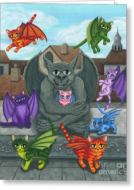 The Guardian Gargoyle Aka The Kitten Sitter Greeting Card